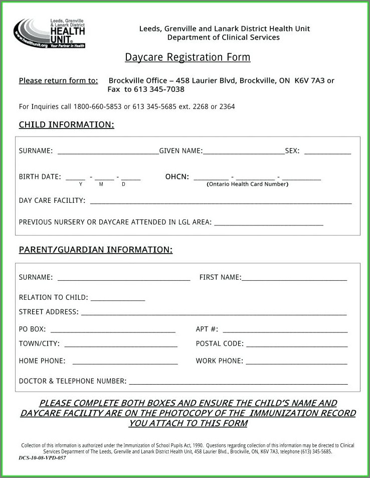 Daycare Registration Form Template