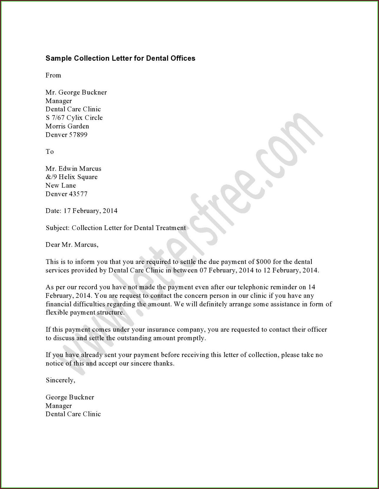 Dental Recall Letter Template