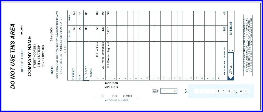Deposit Slips Template Word