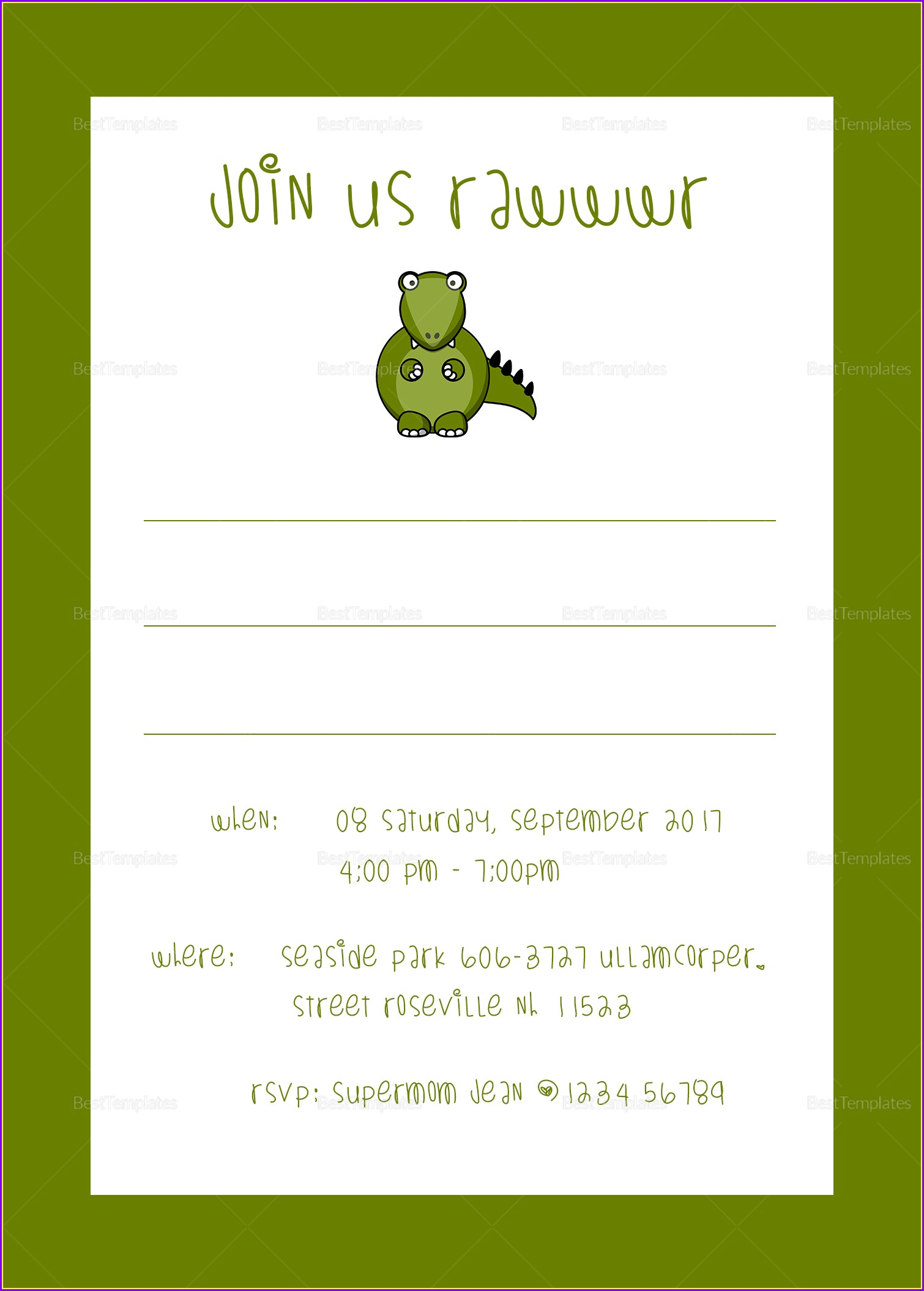 Dinosaur Birthday Party Invitation Template