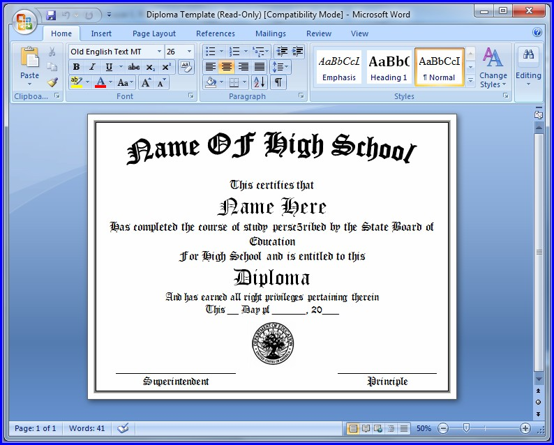 Diploma Template Free Printable Fake High School Diploma