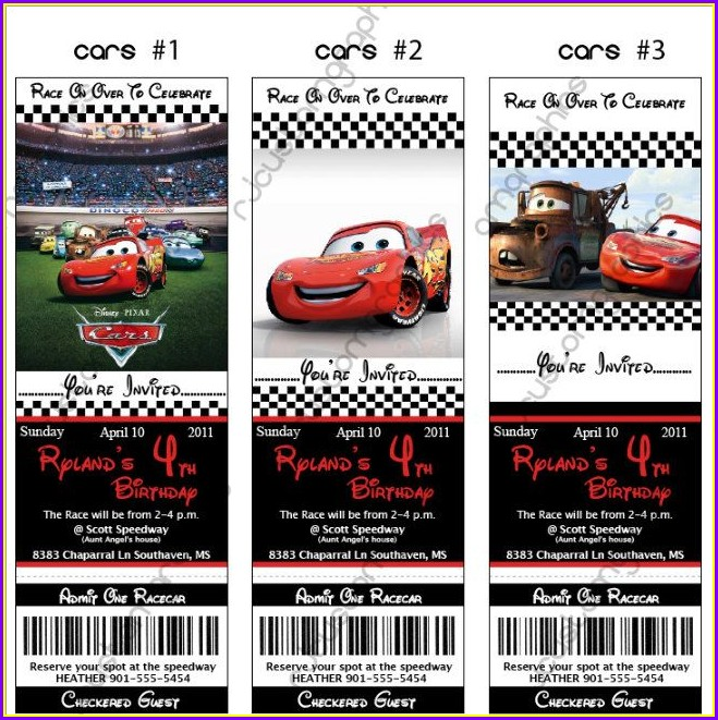 Disney Cars Birthday Invitation Template Free