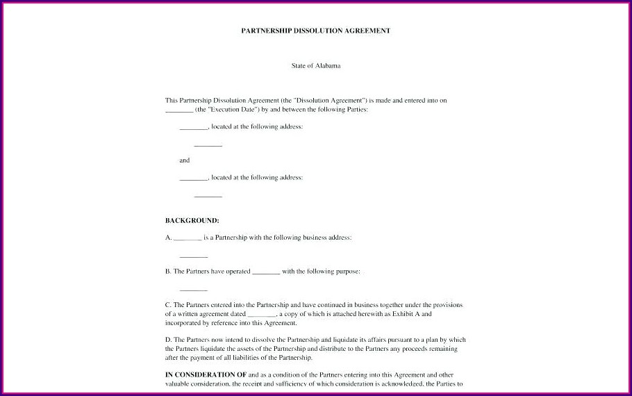 Dissolution Of Partnership Agreement Template