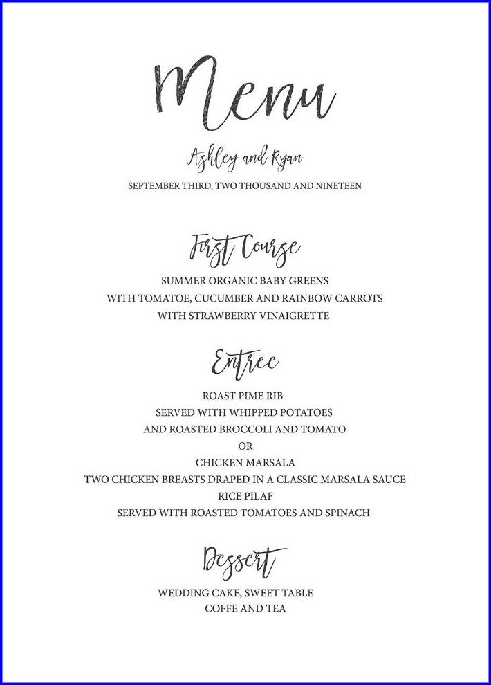 Diy Wedding Menu Template Free