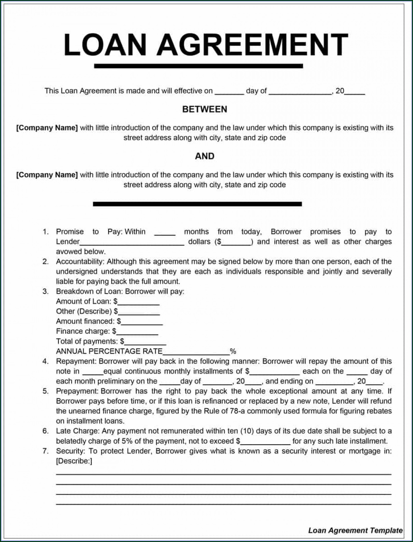 Download Free Loan Agreement Template Uk