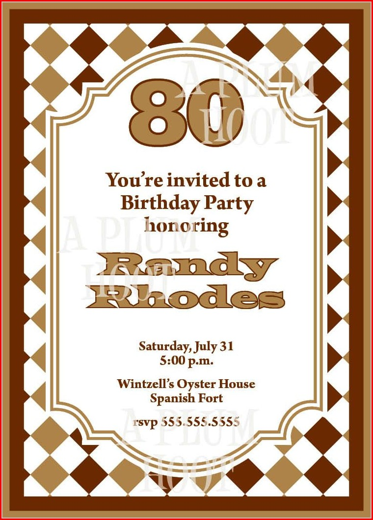 Downloadable 80th Birthday Invitation Template