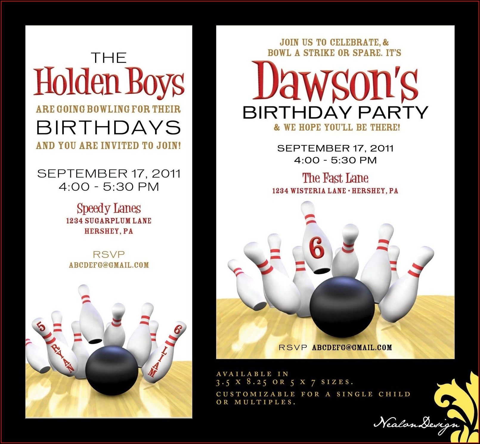 Downloadable Bowling Birthday Party Invitations Free Templates