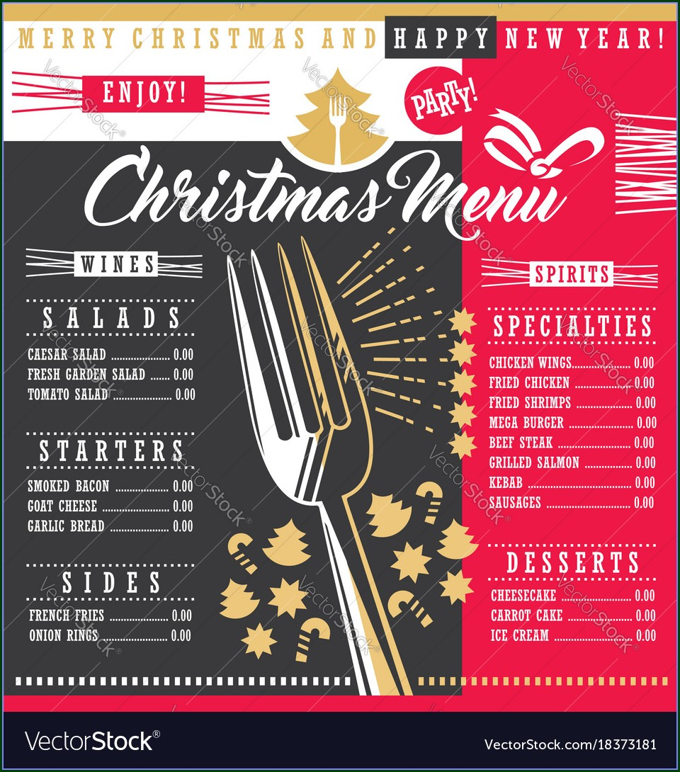 Downloadable Christmas Menu Design Templates Free