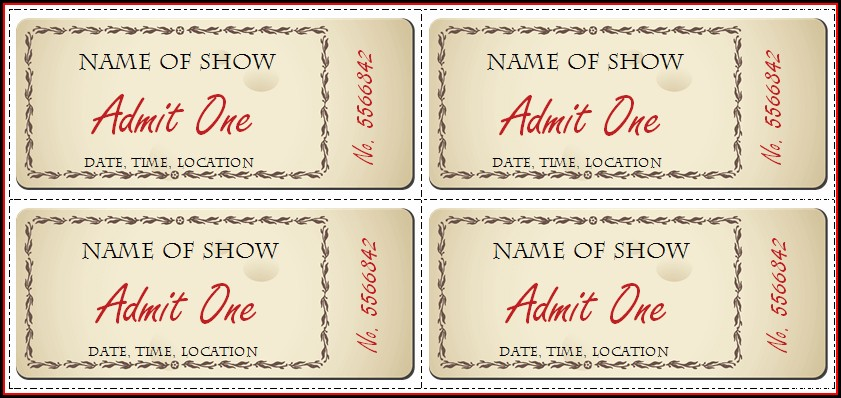 Downloadable Editable Ticket Template Free Word