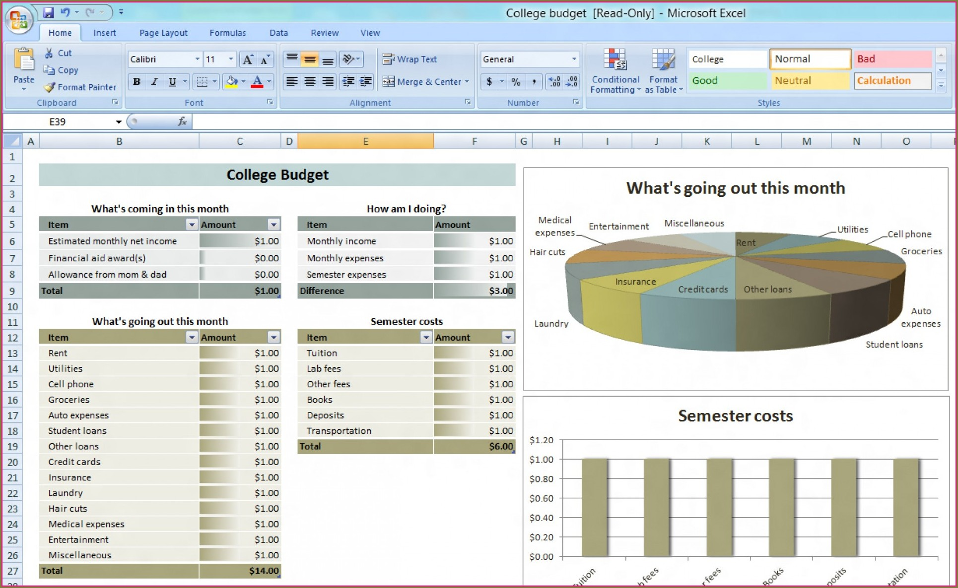 Downloadable Free Budget Planner Template