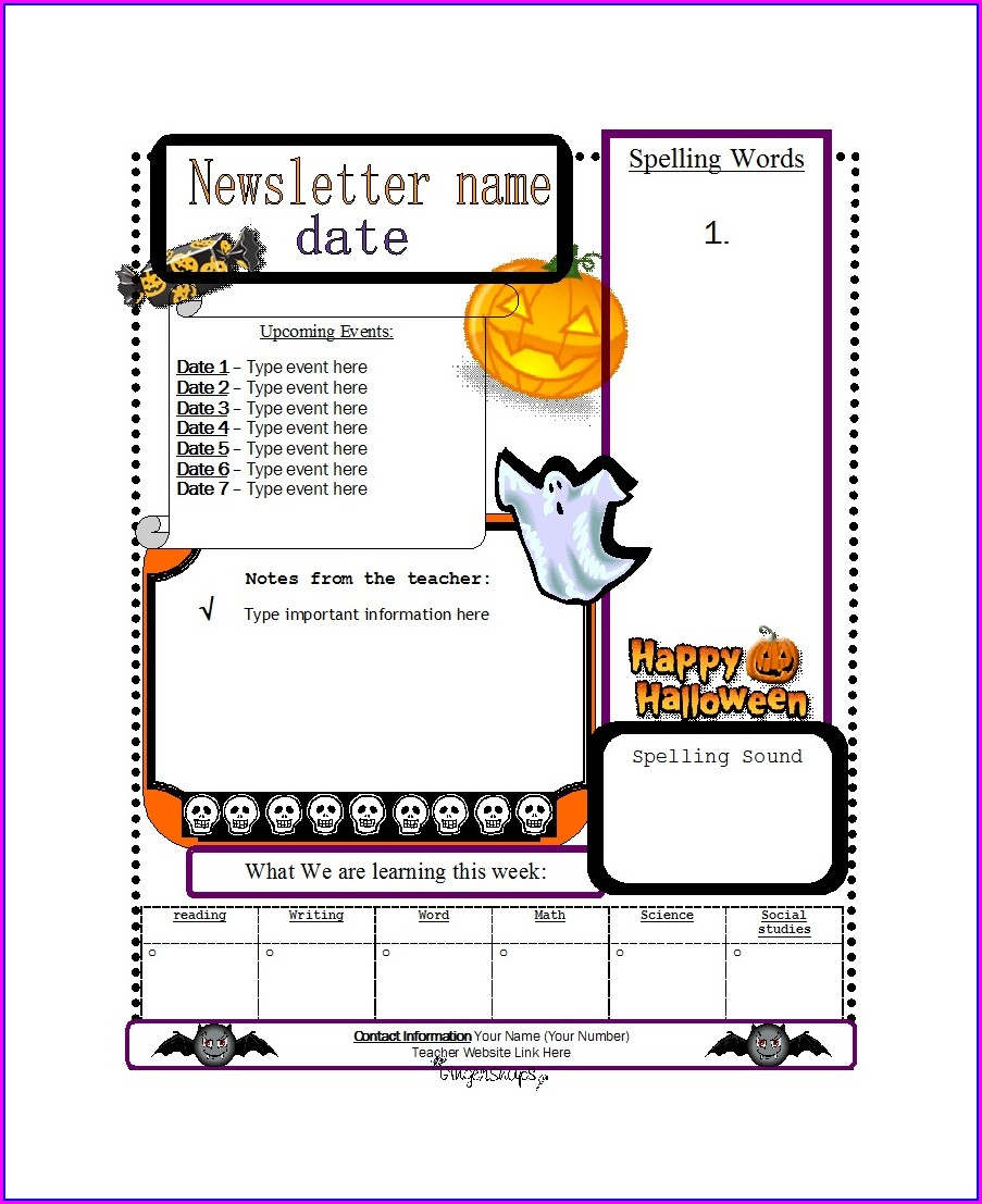 Downloadable Free Editable Newsletter Templates For Teachers