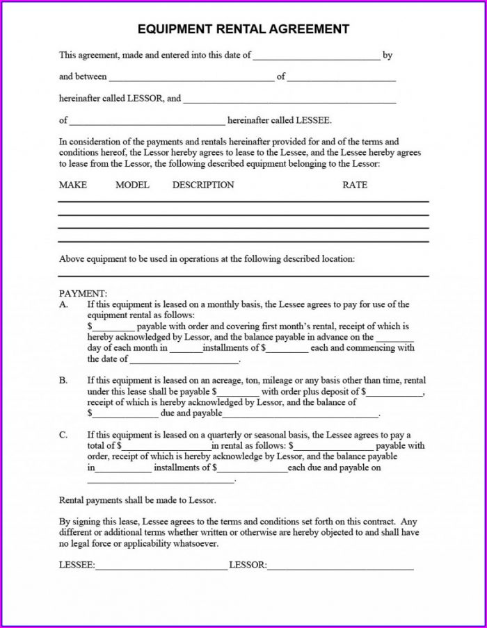 Downloadable Free Equipment Rental Agreement Form Template