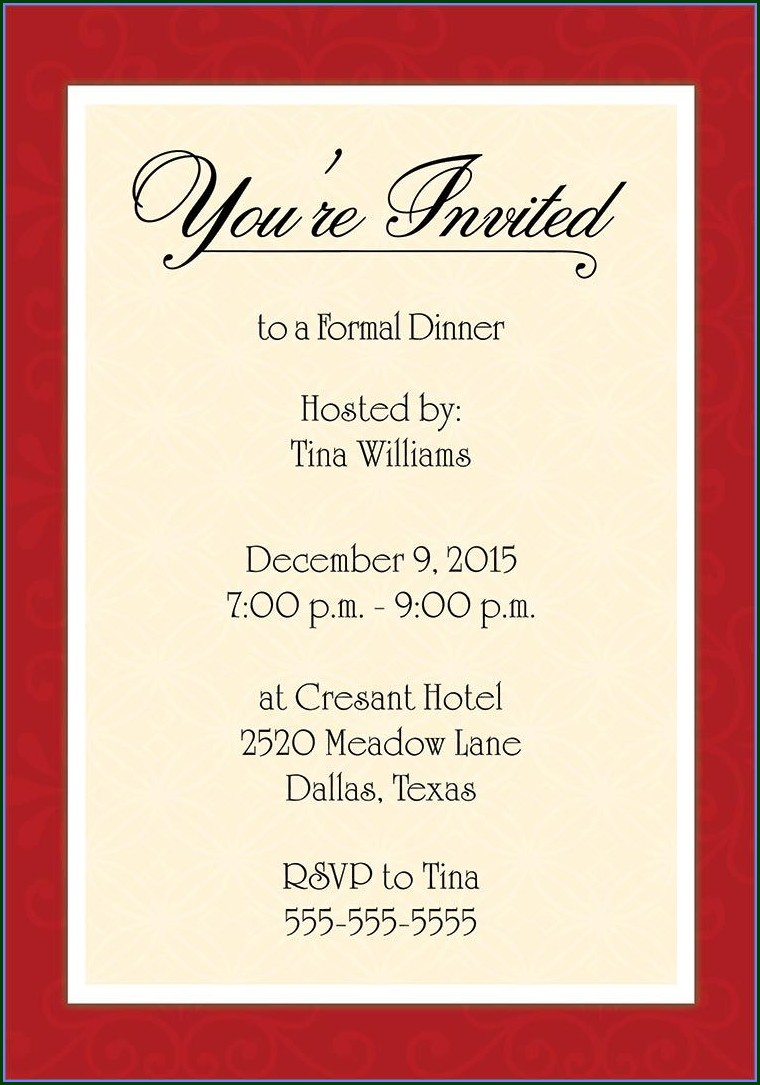 Downloadable Free Formal Invitation Template