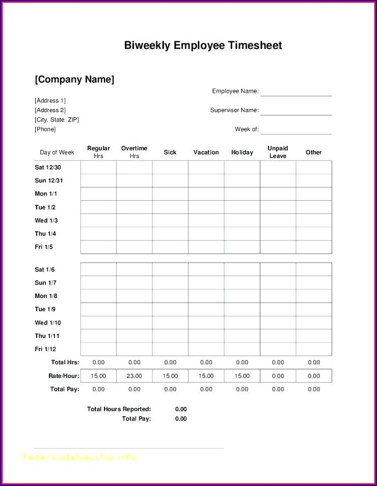 Downloadable Free Monthly Timesheet Template