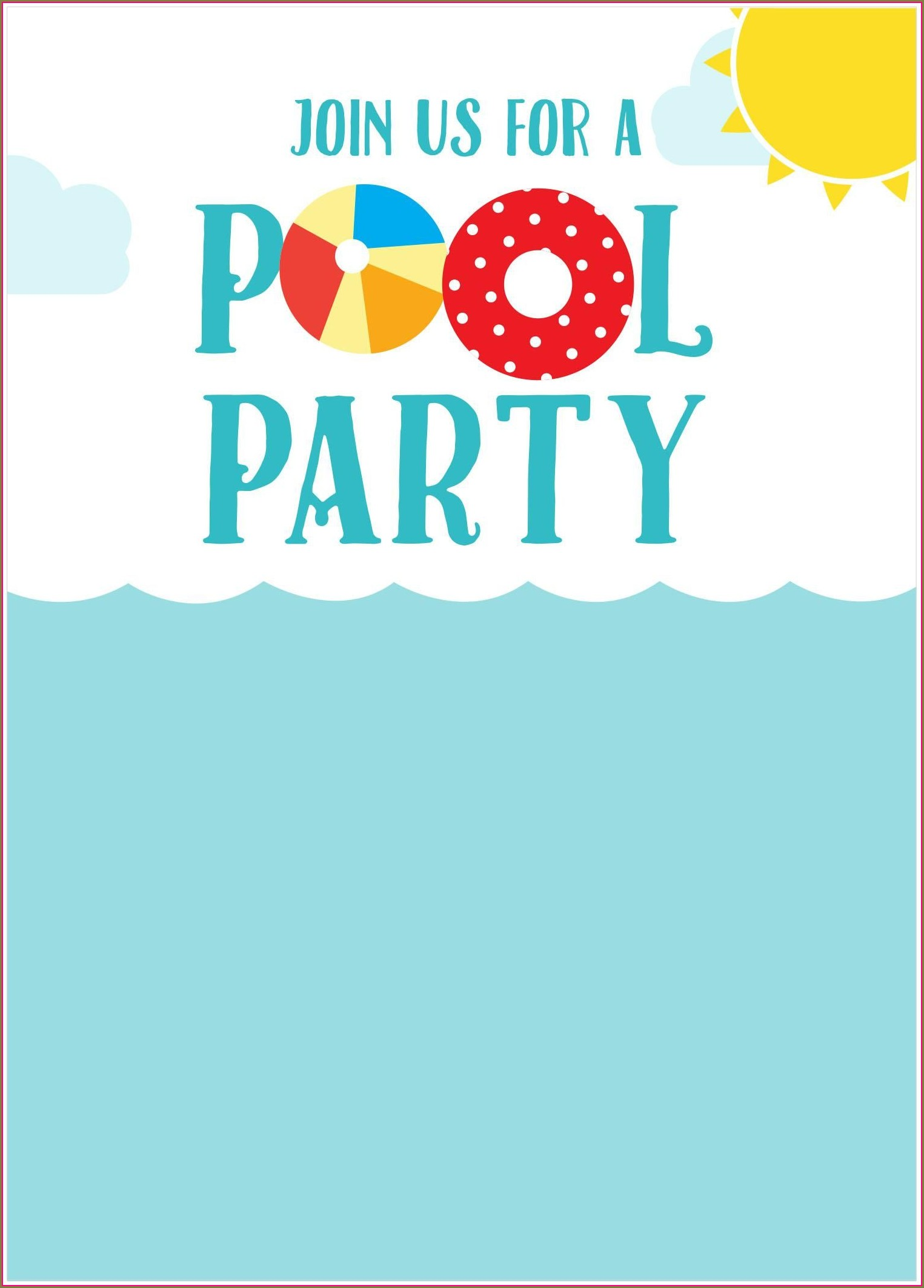 Downloadable Free Printable Birthday Pool Party Invitations Templates