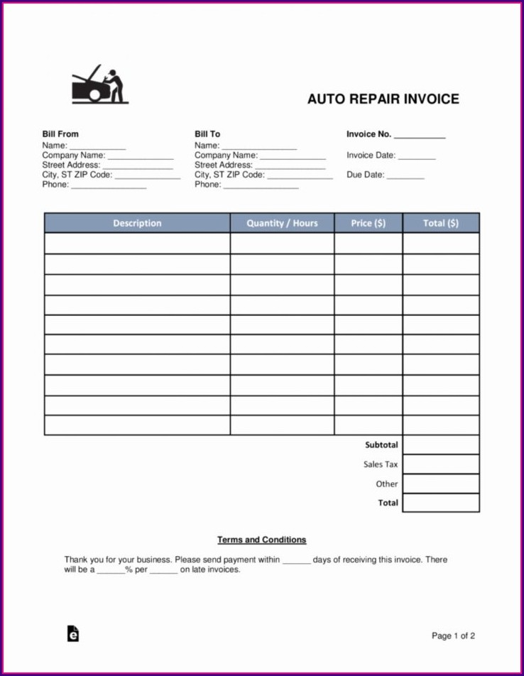 Downloadable Mechanic Invoice Template