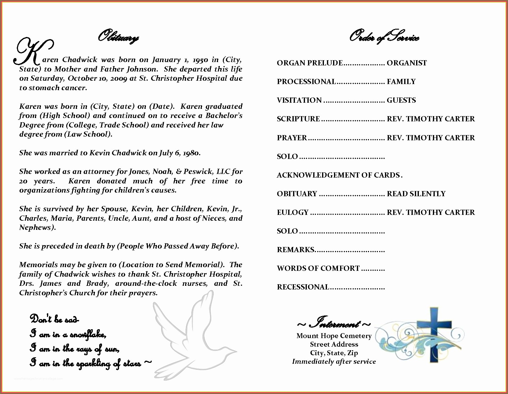 Downloadable Memorial Service Program Template Microsoft Word