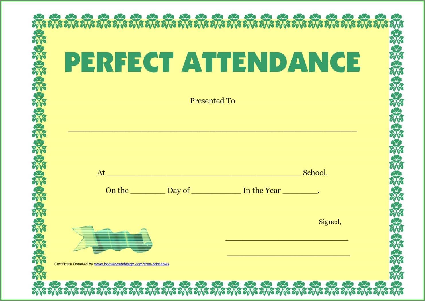 Downloadable Printable Perfect Attendance Certificate Template