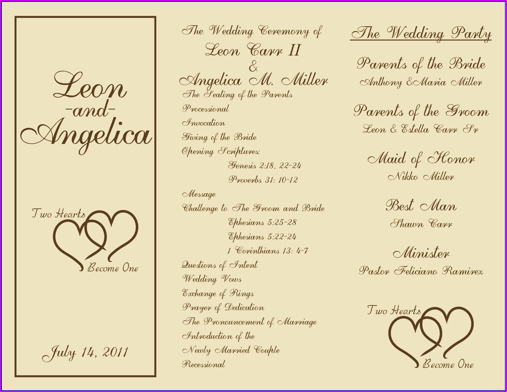 Downloadable Reception Program Templates
