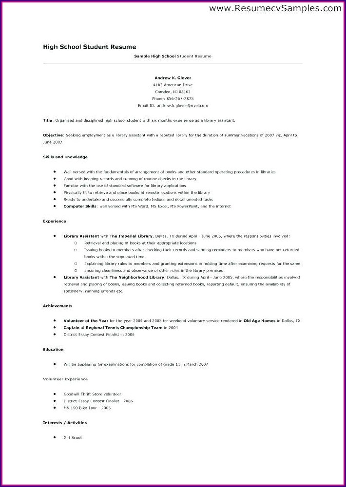 Downloadable Simple Resume Template Pdf