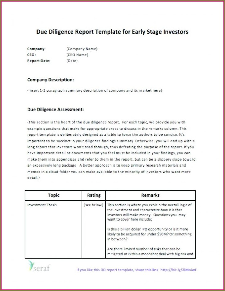 Due Diligence Report Template Ppt