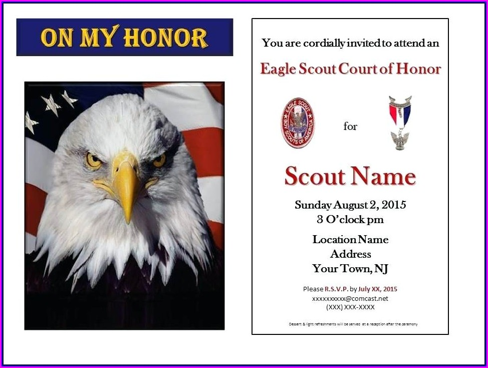 Eagle Court Of Honor Invitation Template Free