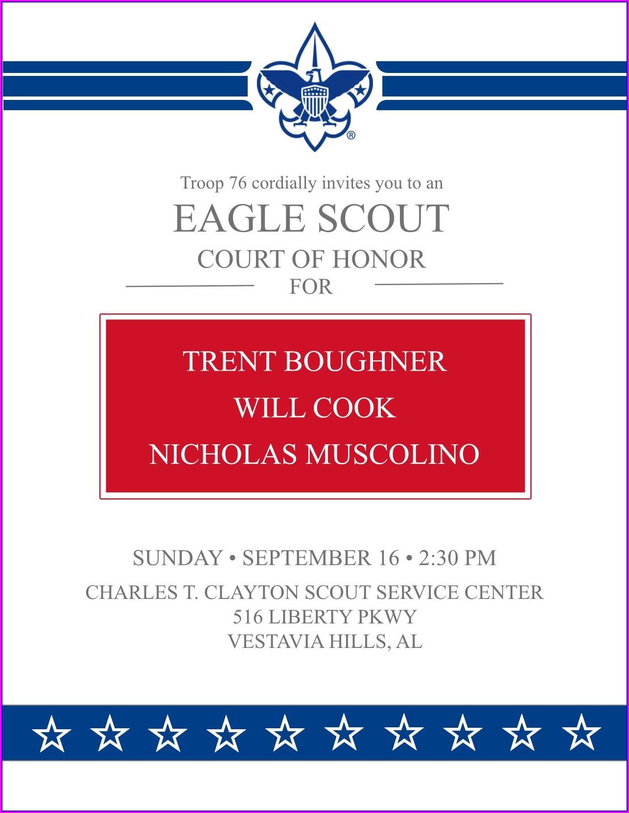 Eagle Court Of Honor Invitation Template