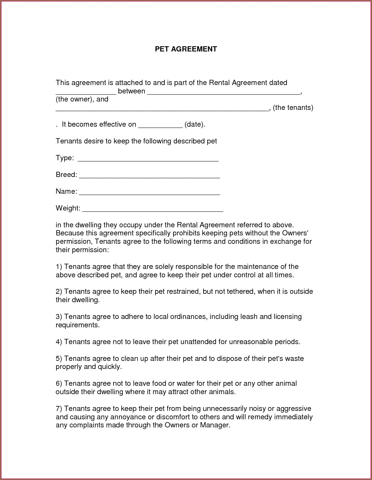 Easy Lease Agreement Template