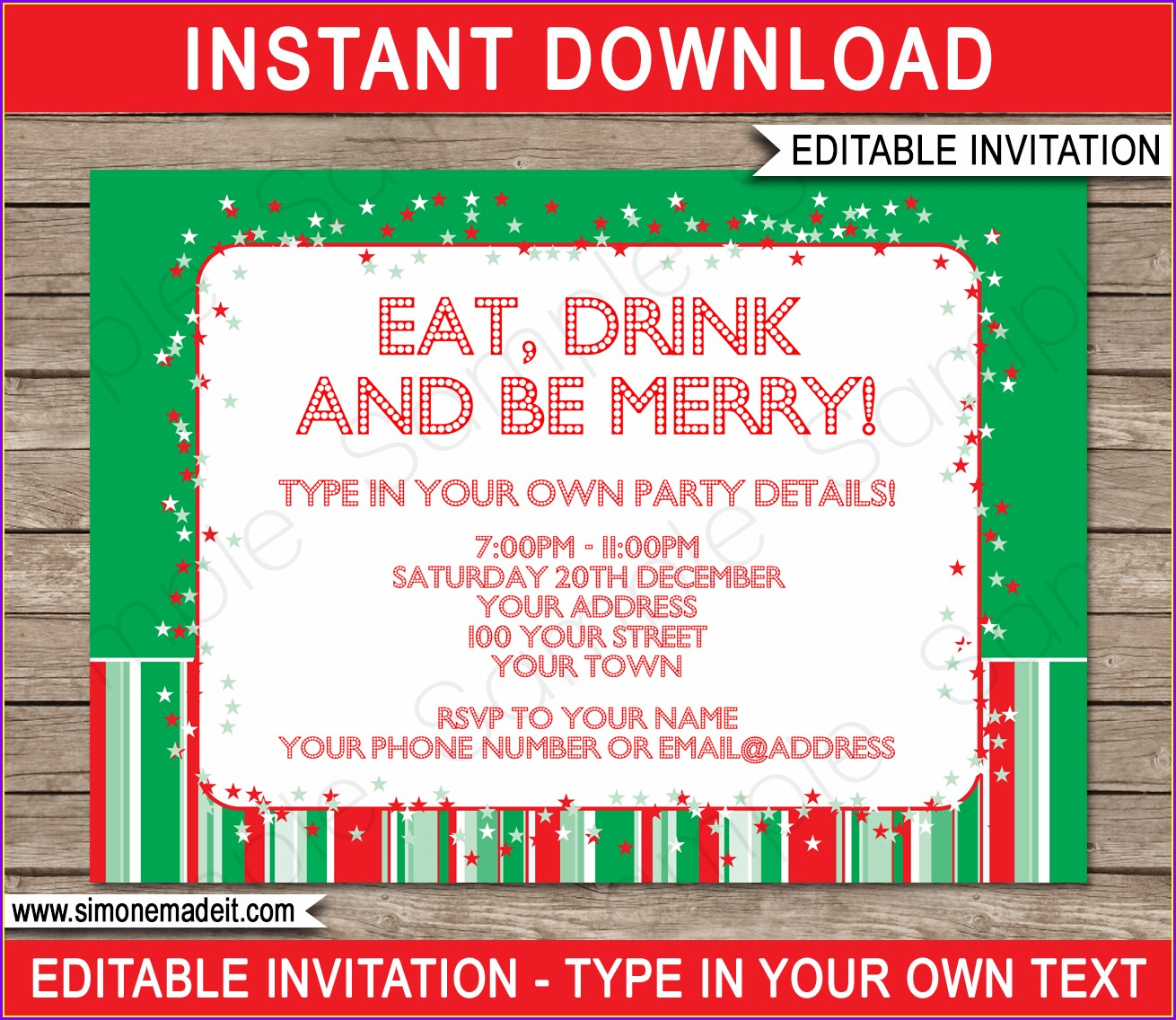 Editable Christmas Party Invites Templates