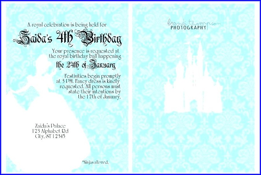 Editable Cinderella Invitation Template