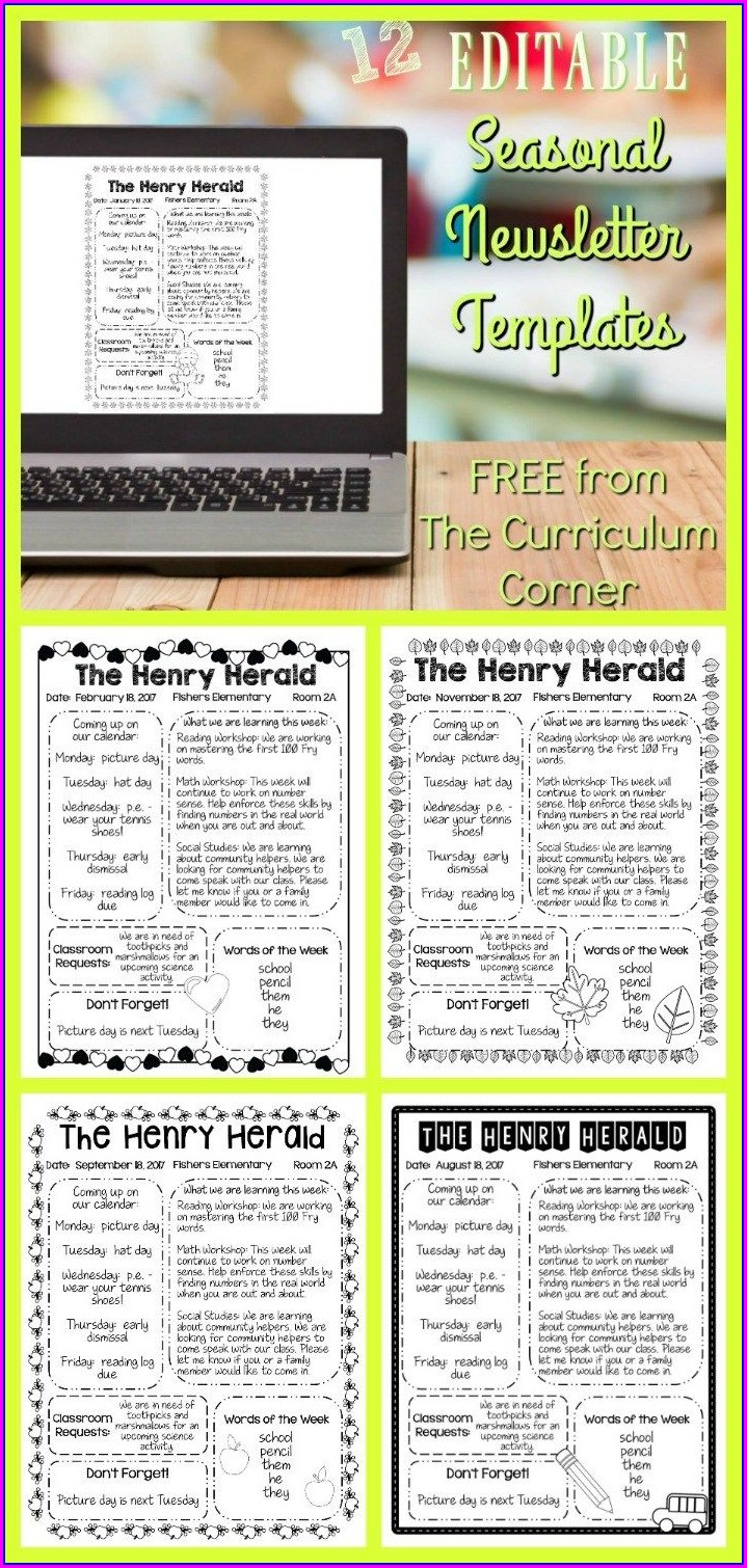 Editable Classroom Newsletter Template Free