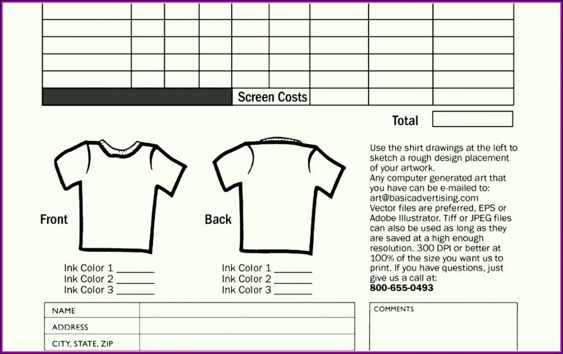 Editable Custom T Shirt Order Form Template