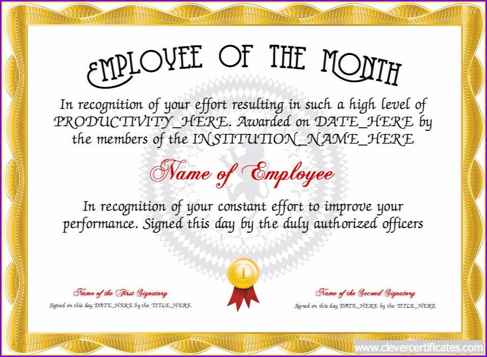 Editable Employee Of The Year Certificate Template