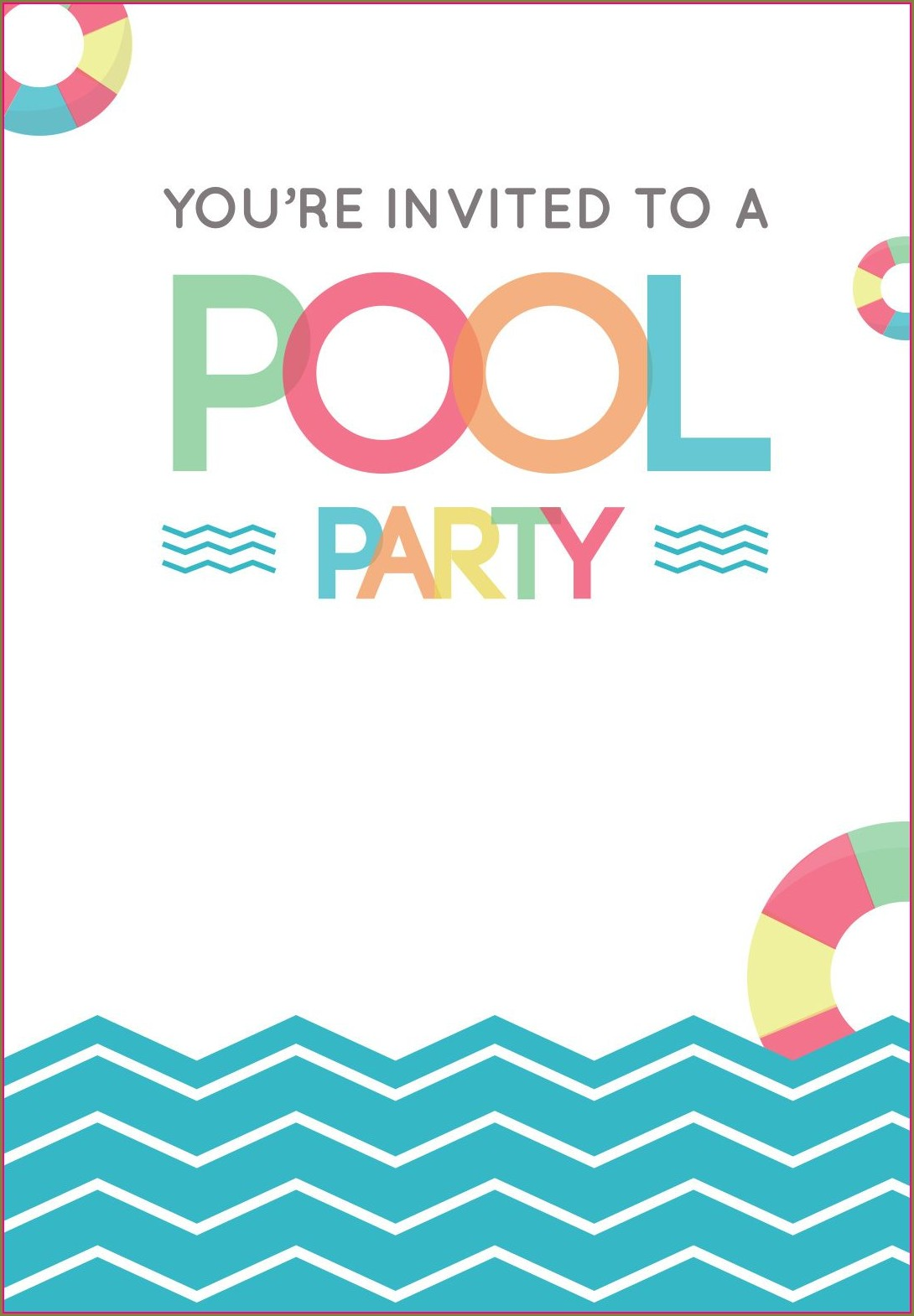 Editable Free Printable Birthday Pool Party Invitations Templates