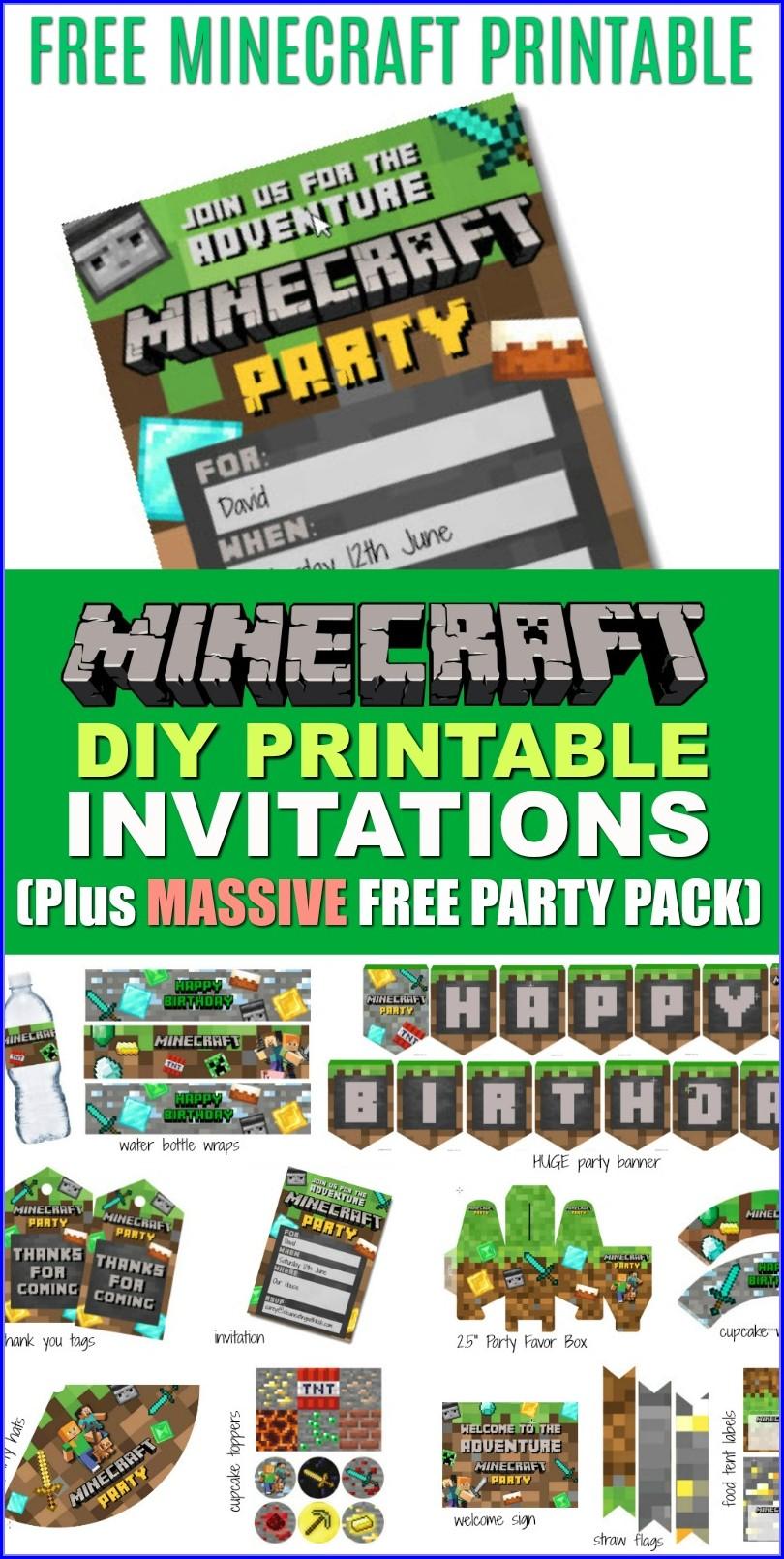 Editable Minecraft Birthday Party Invitations Templates Free