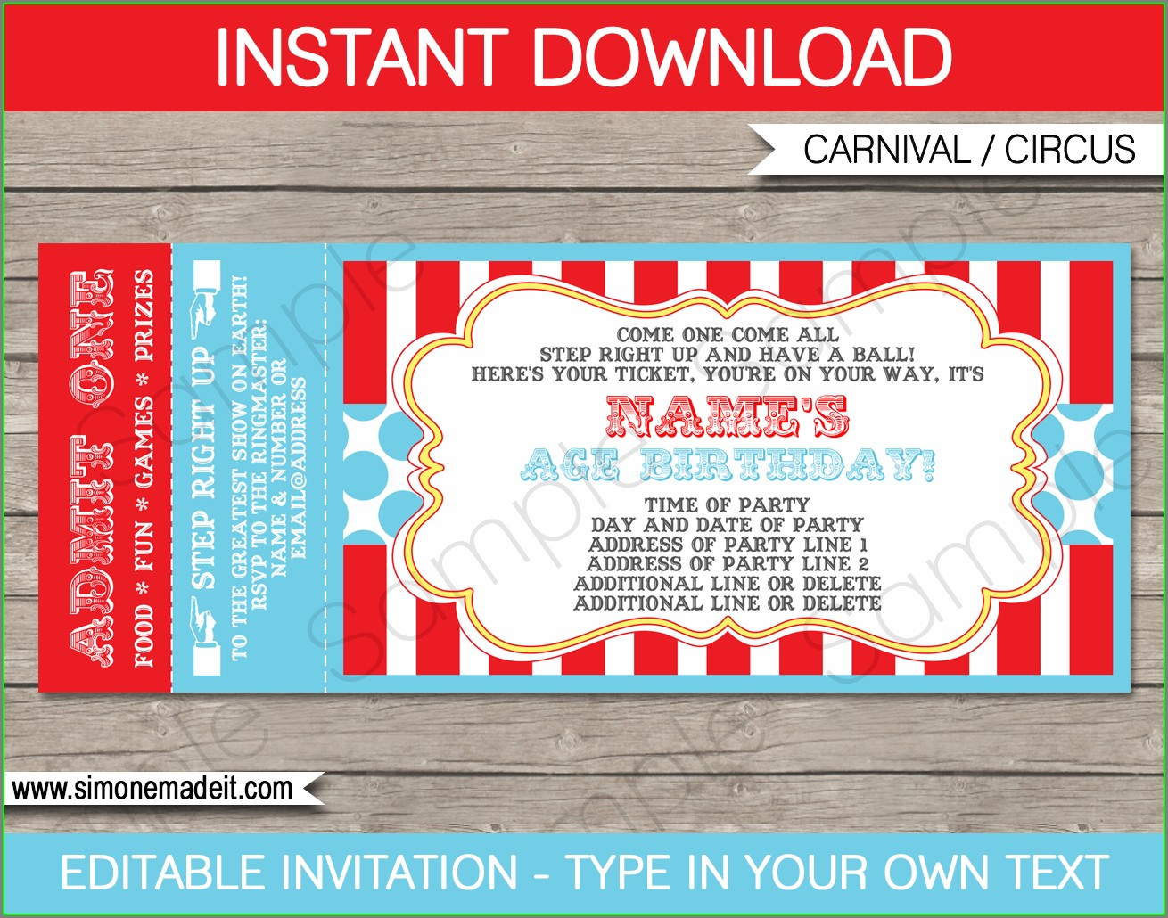Editable Movie Ticket Invitation Template Free Printable