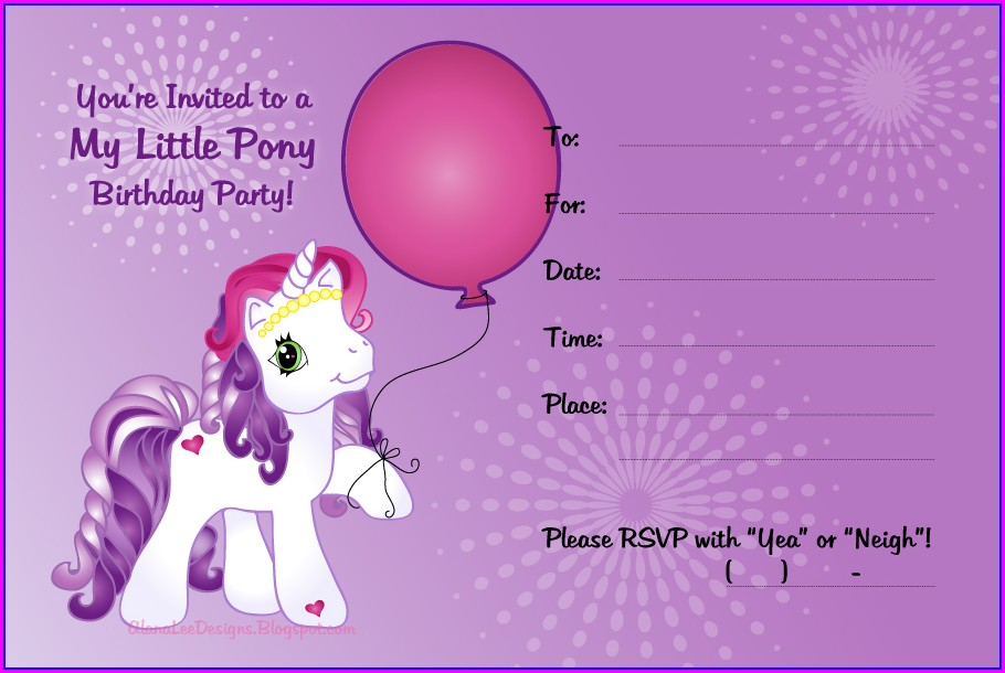 Editable My Little Pony Invitation Template