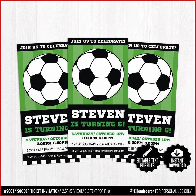 Editable Soccer Invitation Templates