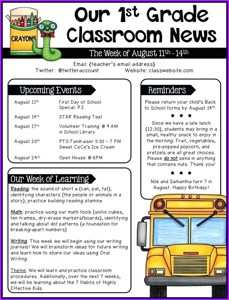 Editable Weekly Newsletter Classroom Newsletter Templates Free