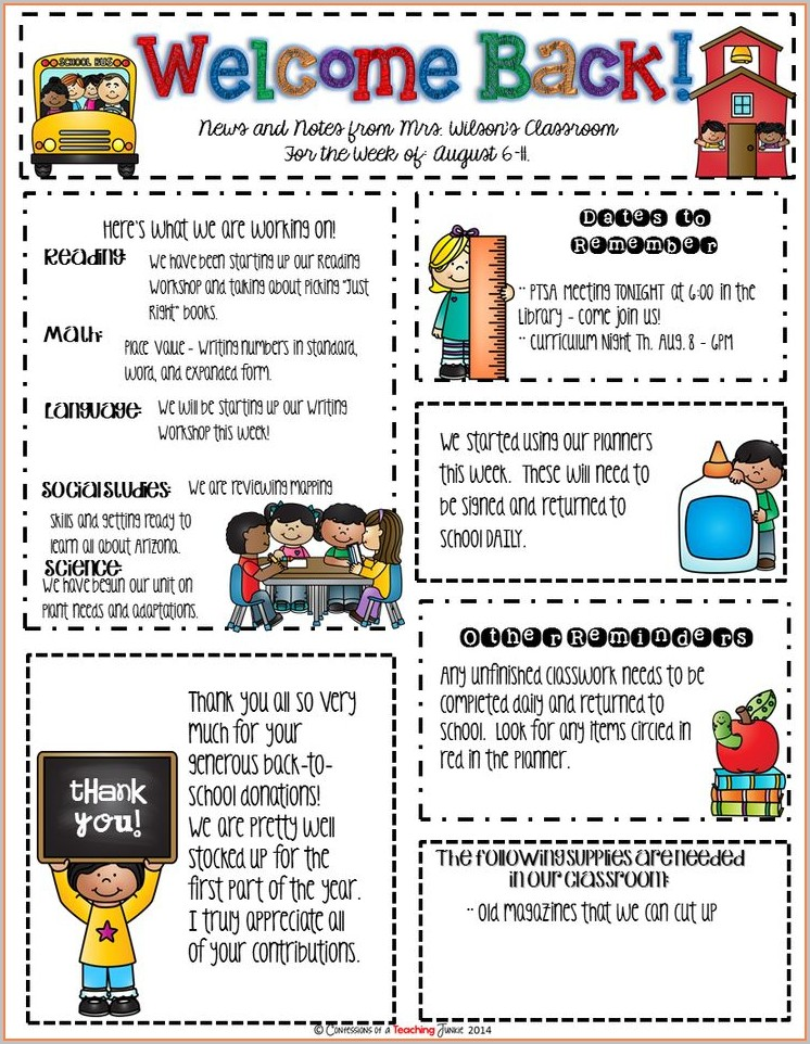 Elementary Classroom Newsletter Template Free