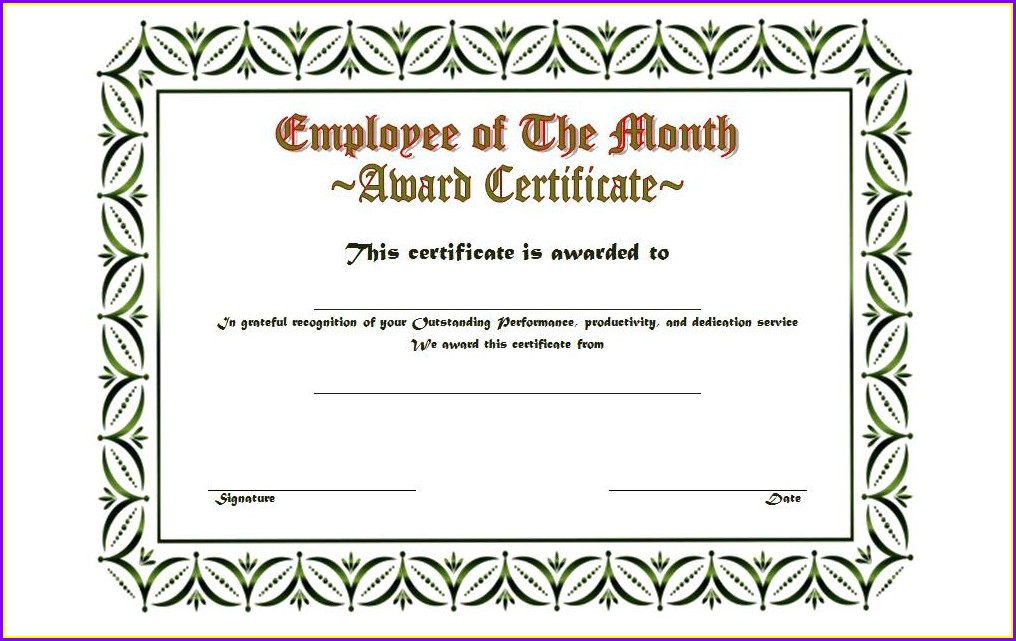 Employee Of The Year Award Certificate Template