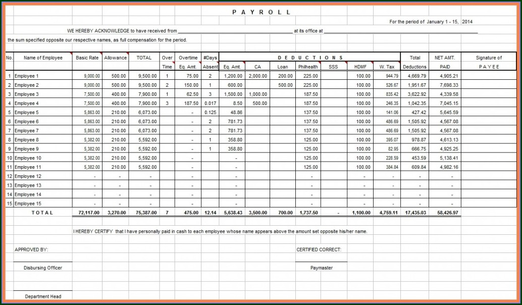 Employee Payroll Payroll Template Excel Free Download Philippines