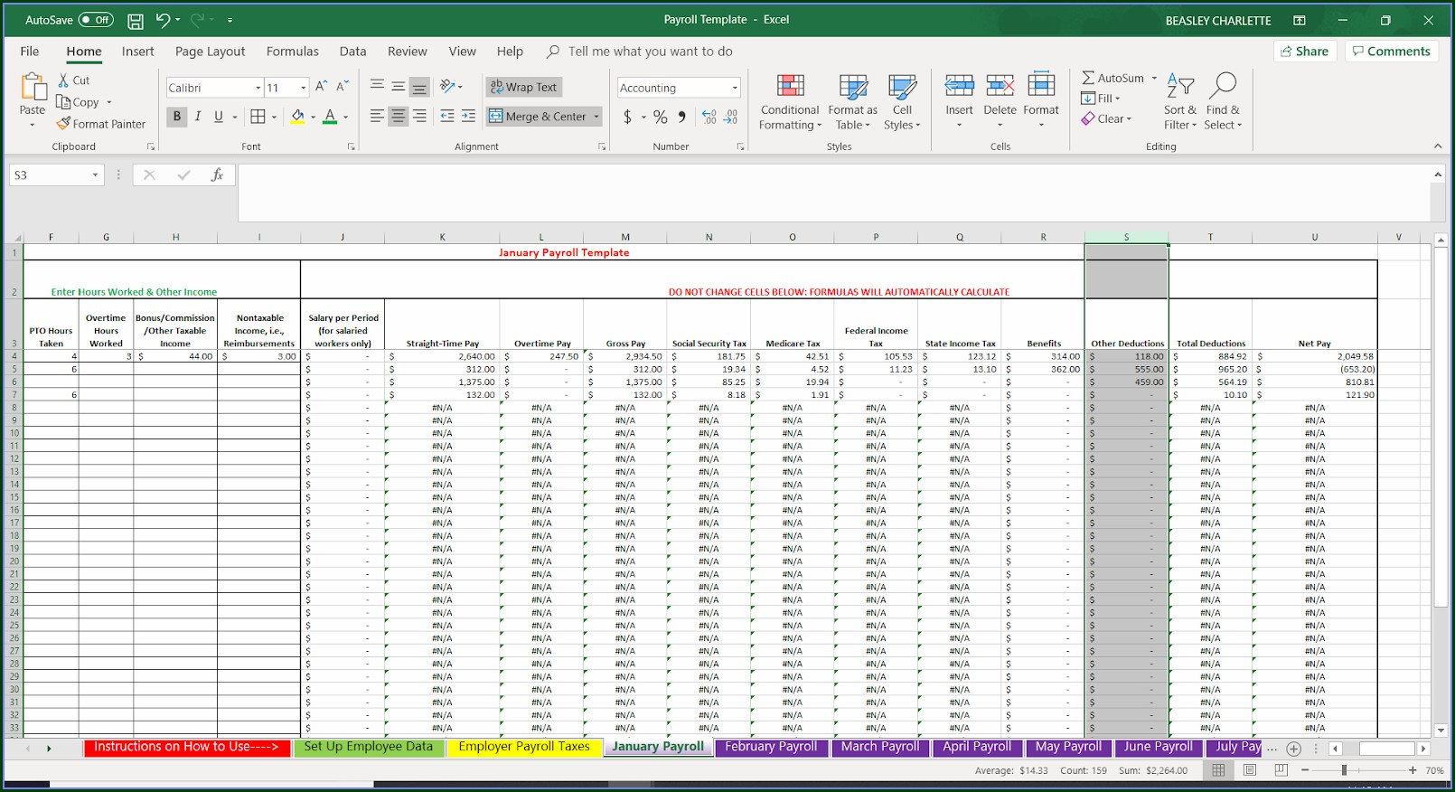 Employee Payroll Template Excel