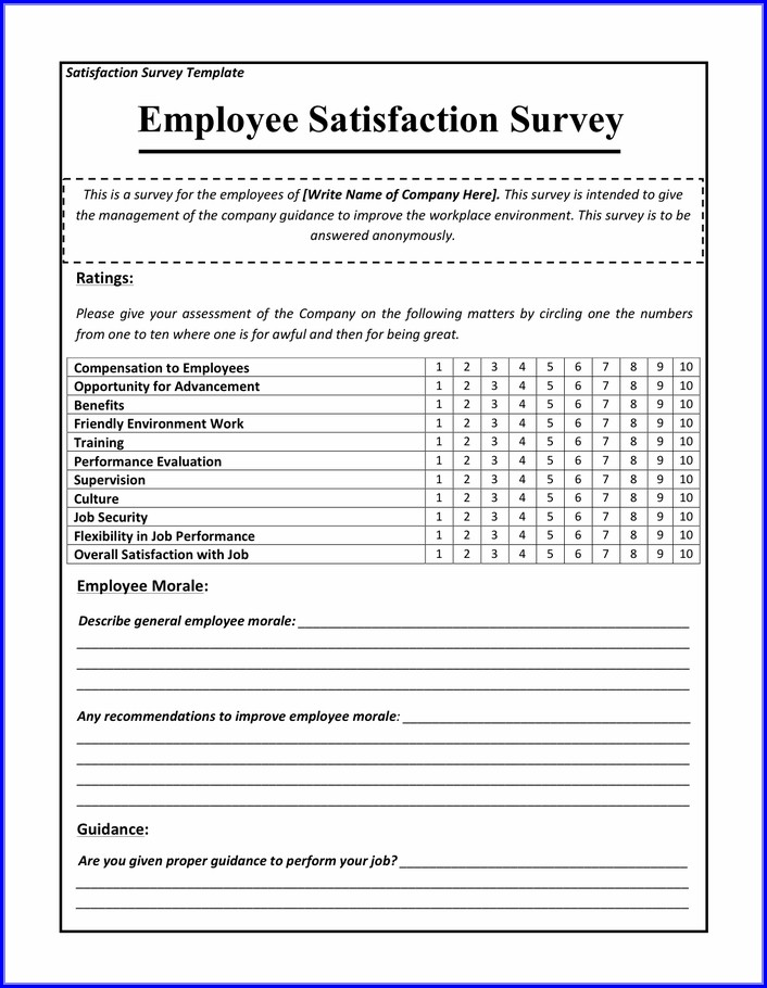Employee Satisfaction Survey Template Word