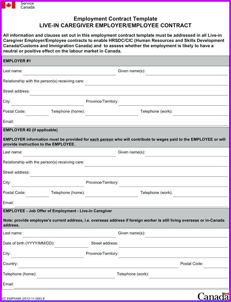 Employment Contract Template Canada Free