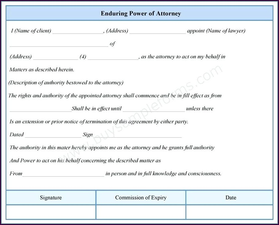 Enduring Power Of Attorney Template Nsw