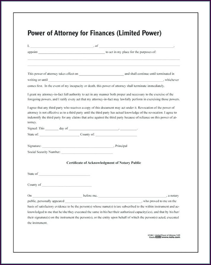 Enduring Power Of Attorney Template
