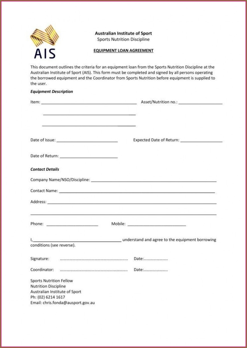 Equipment Rental Form Template