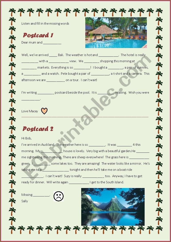 Esl Postcard Template