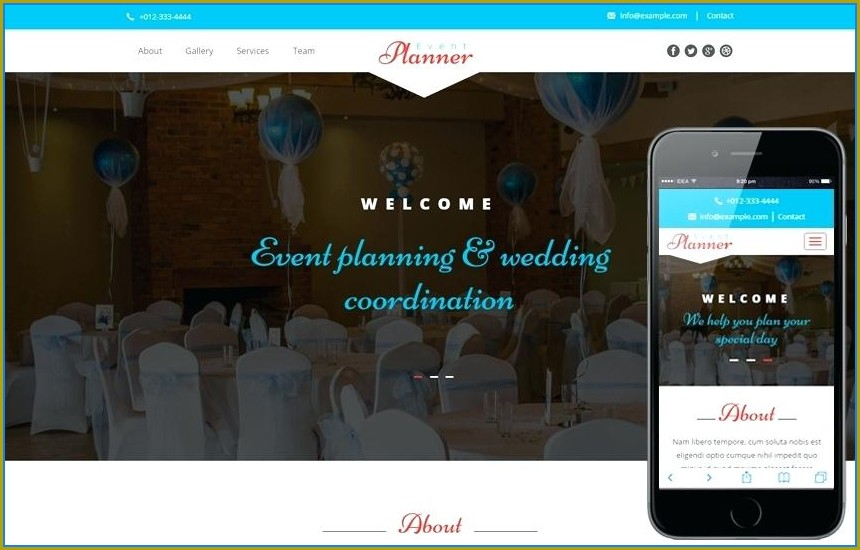 Event Planner Website Template Free